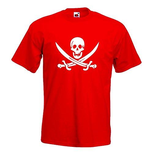 KIWISTAR - Piraten Schädel T-Shirt in 15 verschiedenen Farben - Herren Funshirt bedruckt Design Sprüche Spruch Motive Oberteil Baumwolle Print Größe S M L XL XXL Rot
