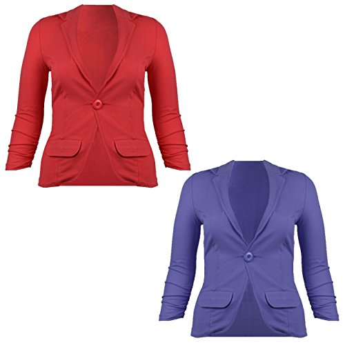 Damen Jersey Blazer, Rot oder Blau, Größe:M;Farbe:blau