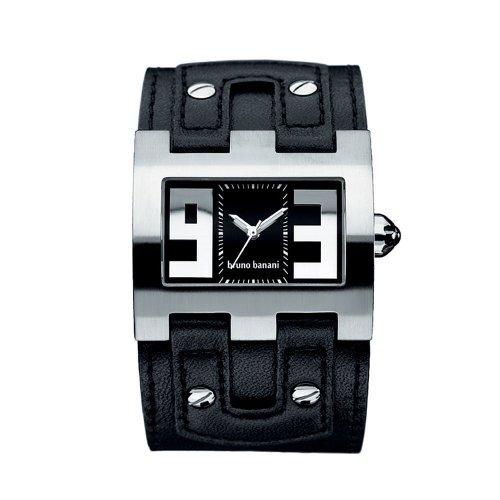 Bruno Banani - XT Evolutuion Square XT3 101 301 - Montre Homme Quartz Analogique - Bracelet Cuir Noir