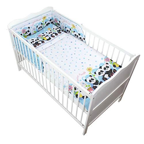 TupTam Baby Bettwäsche mit Nestchen Gemustert 3-TLG, Farbe: Panda Blau, Anzahl der Teile:: 3 TLG. Set