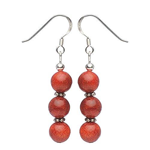 19 - Pendientes Pendientes de plata 925y coral rojo coral pendientes