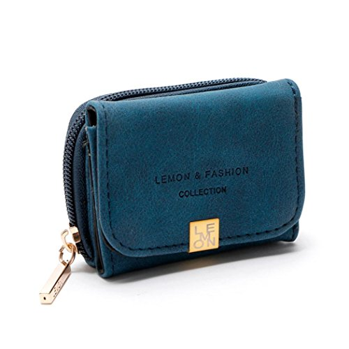 Mini Brieftasche HARRYSTORE Damen Mini Zipper Hasp Short Kartenhalter Mehrschichtige Brieftasche Geldbörse (Blau) (Tote Medium Gesteppte)