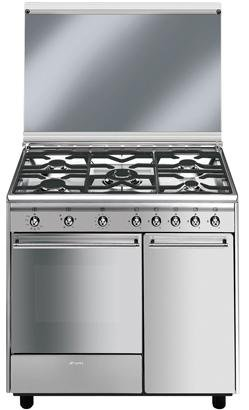 Smeg CX91GVE Freestanding Gas B Stainless steel cooker - cookers (Freestanding, Stainless steel, Ga