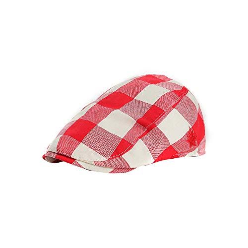 Cimenn Kinder Baskenmütze Cap, Girl Boy England Style Plaid Baumwolle Zeitungsjunge Hut (rot) -