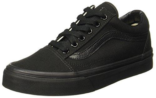 Vans Old Skool, VD3HBKA,  Unisex-Erwachsene Sneakers, Schwarz (black/black (canvas), 45 EU (Skate Leder Schwarz Schuhe)
