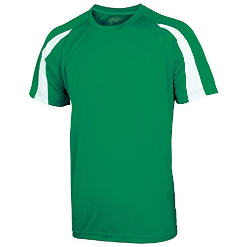 AWDis Herren Modern T-Shirt Gr. S, Kelly Green / Arctic White (Ringer Green Go T-shirt)