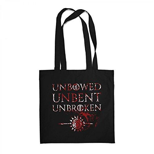 Fashionalarm Stoffbeutel - House Martell Unbowed Unbent Unbroken | Beutel Baumwolltasche Geschenk zur GoT Serie | Ungebeugt Ungezähmt Ungebrochen, Farbe:schwarz