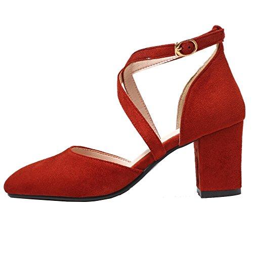 YE Damen Geschlossen Riemchen High Heel Pumps mit Schnalle und 7cm Blockabsatz Süß Schuhe Rot