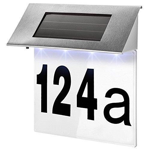 Solar Hausnummer Beleuchtung Hausnummernleuchte Beleuchtet Edelstahl Design LED