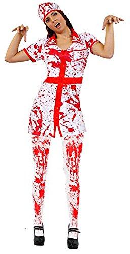 Krankenschwester Paare Arzt Kostüm - ILOVEFANCYDRESS BLUTIGES Krankenschwestern Nurse VERKLEIDUNG KOSTÜM=Fasching Karneval Halloween = MIT BLUTIGER Strumpfhose UND MIT Einer BLUTIGEN SCHWESTERNHAUBE =MEDIUM