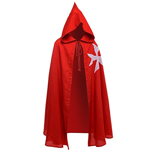lich Ritter Hospitaller Mantel Schwarz LARP Kap mit Weißes Kreuz (Rot) ()