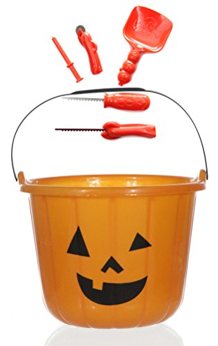 Halloween Süßigkeiten Sammeleimer und Kürbis Schnitz, Dekorier und Aushöhl Spezial Werkzeug Messerset