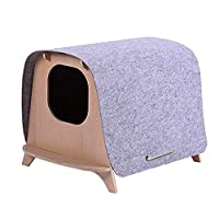 LCH Cat Bed-Portable Multifunctional Pet Wood Rest Cave House, Wood And Felt Material, Practical And Durable, Universal Season, 46.7 * 59.2 * 44Cm