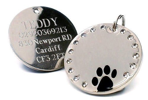 Personalised 30mm Round Crystal and Black Paw Dog Pet ID Tag Disc Engraved.TO LEAVE ENGRAVING DETAILS PLEASE READ PRODUCT DESCRIPTION LOWER DOWN THIS PAGE.
