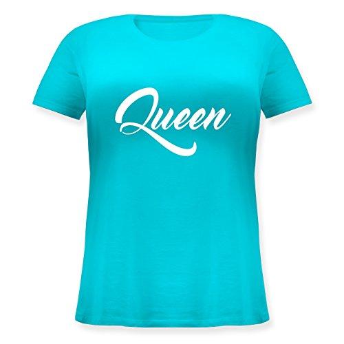 Shirtracer Partner-Look Pärchen Damen - Queen Pärchen Lettering - Lockeres Damen-Shirt in Großen Größen mit Rundhalsausschnitt Türkis