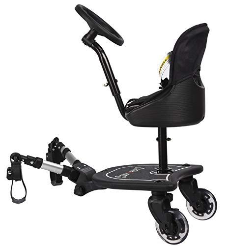 Easy X2 Rider Sit N Ride 2 roues pour poussette universelle avec siège et volant pour s'adapter à toutes les poussettes, landaus et poussettes - Adaptateur télescopique