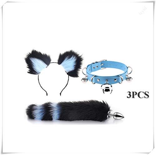 ieyol Fashion Dress Up Choker Collar Cat Ears Hairpin Headband Fox Tail Costume B-¨¹tt an-?l Pl-¨´g T-?-ys Set(M)