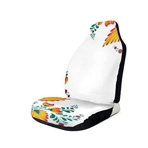 MIOMIOK Seat Covers Vehicle Protector Car Mat, Motivational Quote with Ornate Japanese Watercolor Flower Motif,Fit Most Cars, Sedan, Truck, SUV,2pcs