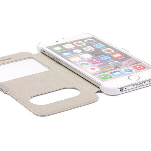 iPhone 6 / 6s Étui , Urcover Double view [Double Fenêtre] Housse Apple iPhone 6 / 6s Coque Rouge avec fonction d'appel Téléphone Blanc