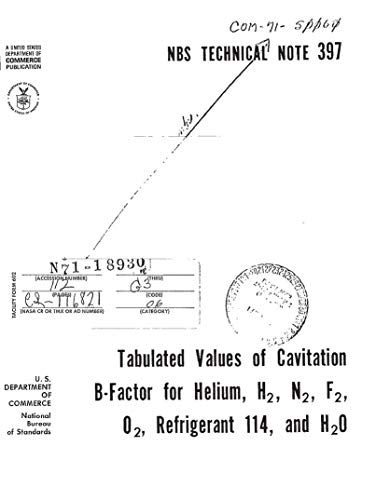 Tabulated values of cavitation B-factor for helium, H2, N2, F2, O2 ...