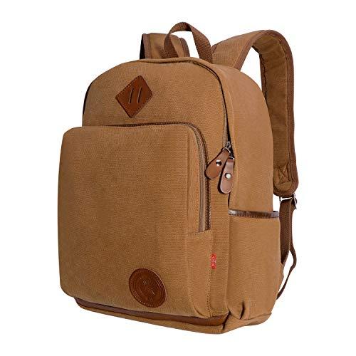 AUGUR Canvas Rucksack 15.6 Zoll Laptop Rucksack Schule Rucksack für Herren und Damen
