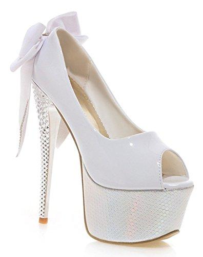 YE Frauen Peep Toe 16cm Hohe Absatz Plateau Stiletto Party Sexy Damen High Heels Plattform Pumps mit Schleife Strass Schuhe (36EU, Weiß)