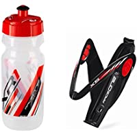 Raceone.it - KIT Race Duo X5 Gel (2 PCS): Porta Bidon X5 + Bidon de ciclismo XR1 Bici Carrera de Ruta / Bicicleta de Montaña MTB / Gravel Bike. Color: Negro / Rojo 100% MADE IN ITALY