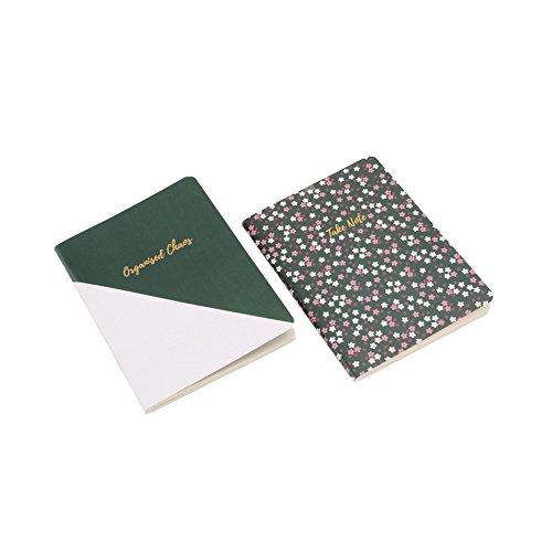 CGB Giftware Willow And Rose Paar farblich abgestimmte Notizbücher in A6, sortiert (Einheitsgröße) (Moosgrün/Weiß)