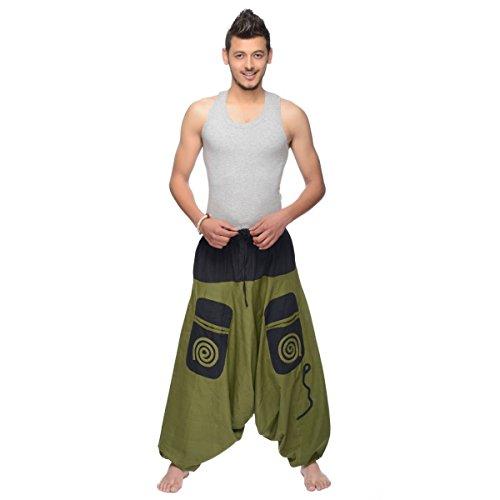 Haremshose Pumphose Aladinhose Pluderhose Yoga Goa Sarouel Baggy Aladin Freizeithose Simandra Herren (Grün-schwarz, S/M) (Gestickte Welle)