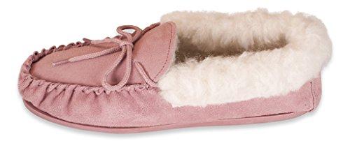 Nordvek - Pantoufles style mocassin - femme - revers en laine et semelles rigides - # 417-100 Rosé