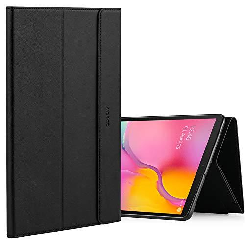 WDundCD Hülle kompatibel für Galaxy Tab A 10.1 (2019) SM-T510 / T515 Leder Case, Magnetverschluss, Schnappverschluss, Tablet Schutzhülle mit Ständerfunktion, Schwarz
