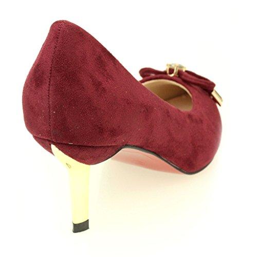 Femmes Dames Soirée Casual Tribunaux Moyenne Kitten Heel Mariage Party Sandale Taille de chaussures (Noir, Bordeaux) Bordeaux