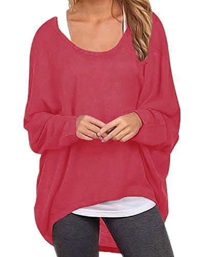 ZANZEA Damen Lose Asymmetrisch Jumper Sweatshirt Pullover Bluse Oberteile Oversize Tops Rot EU 46/Etikettgröße XL