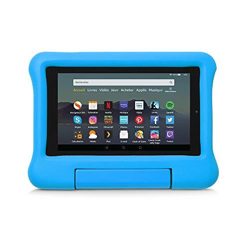 Coque spéciale enfants pour tablette Fire 7 (compatible avec les appareils de 9ème génération, modèle 2019), Bleu