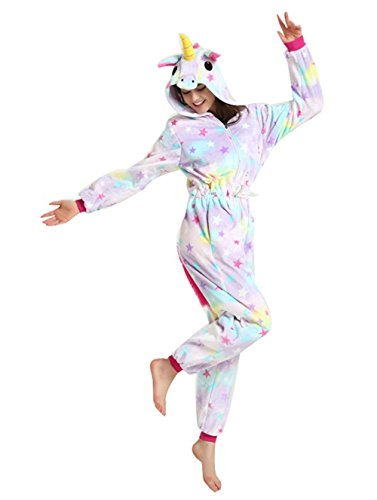 Kenmont Jumpsuit Tier Cartoon Einhorn Pyjama Overall Kostüm Sleepsuit Cosplay Animal Sleepwear für Kinder/Erwachsene (X-Large, Stars Einhorn)