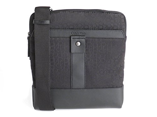 Calvin Klein Sac pour homme à porter à l'épaule noir avec logo partout 25 x 28 x 3