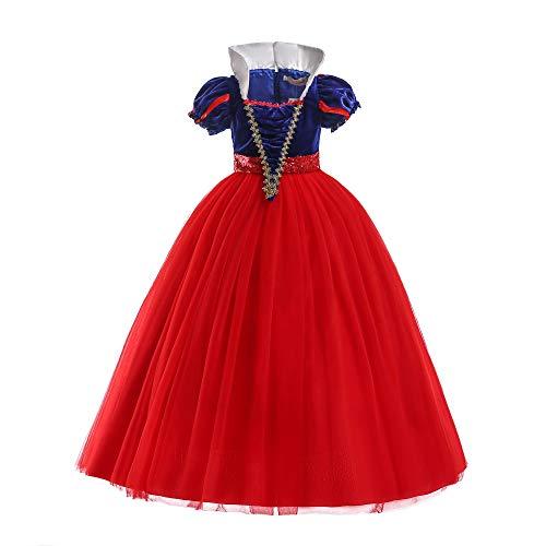 ELSA & ANNA® Mädchen Prinzessin Kleid Verrücktes Kleid Partei Kostüm Outfit DE-SNWRED03 (3-4 Jahre, Rot)