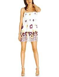 Bestyledberlin Damen Mini Kleid, Super kurzes Longtop Shirt, Sommerkleid, Blumenkleid t63p