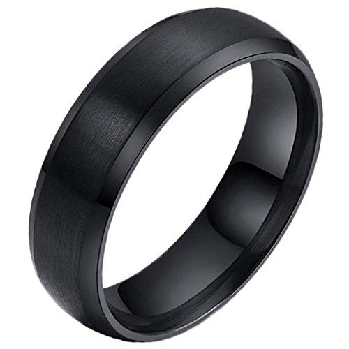 Anyeda Ringe Männer Edelstahl Unisex Klassische Loyal Black Wedding Bands Kreis Beendet Ring und Ohrringe Set Größe 54 (17.2) (Ihn Sets Wedding Ring Black)