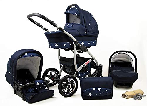 Lux4Kids 3 in 1 Combi pram Pushchair Stroller Complete Set with car seat Isofix Larmax Navy Blue Star 3in1 with Baby seat Lux4Kids Lux4Kids 4in1 or 3in1 or 2in1 pushchair. You have the choice whether you need a car seat (baby seat certified according to ECE R 44/04 or not). Of course, the Pram is stabil, safe and durable Certificate EN 1888:2004 Of course, the baby Basket has a rocking function when it is removed from the pram. The push handle adapts to your size and fits for everyone 1