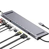 GIKERSY Hub USB C Adattatore 11-in-1 con Uscita HDMI 4K, Ethernet,VGA,4 Porte USB 3.0,Alimentatore di Tipo c,Lettore schede SD/TF,3.5mm Audio Compatibile con MacBook PRO 2018/2017/2016/2015 e Altro