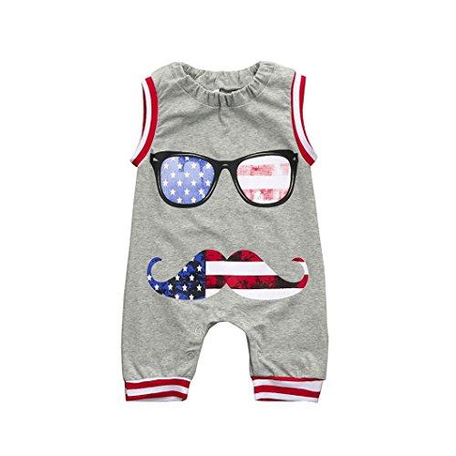 Babykleidung, Sonnena Baby Kleikind Junge Mädchen Ärmellos US Flagge Print Strampler Mode Drucken Blusen Tops Tägliche Baumwolle Sommerkleidung Strandkleidung Babykleidung (18M, Grau) (Us Flagge Kleid)