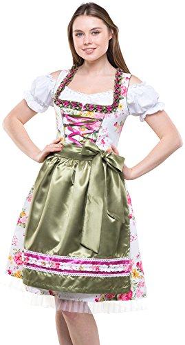 Bavarian Clothes Dirndl Damen Grün Rosa Trachtenkleid 3 teilig '7020' Midi Dirndl mit Dirndlbluse und Bestickter Dirndlschürze (Größe 38)