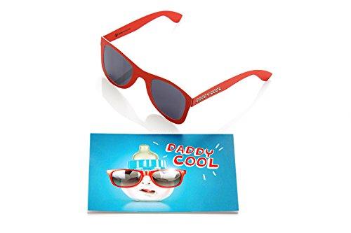 2er Set, Coole und witzige Karte für Papa zur Geburt mit Sonnenbrille I Glückwunschkarte I Karte zur Geburt Junge, blau rot, lustig, witzig, cool, SUN09