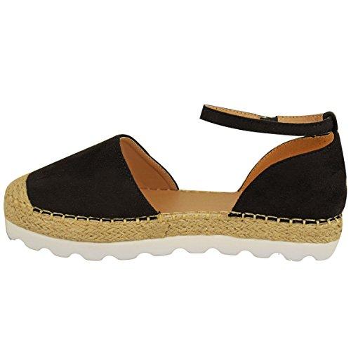Femmes Bride Cheville Sandales Plates Mocassins Espadrilles Chaussures D'été Taille Noir Daim Synthétique