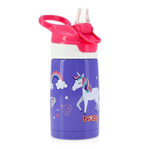 Nuby Sippy Cup Bouteille d'eau en acier inoxydable pour enfant Rose brillant