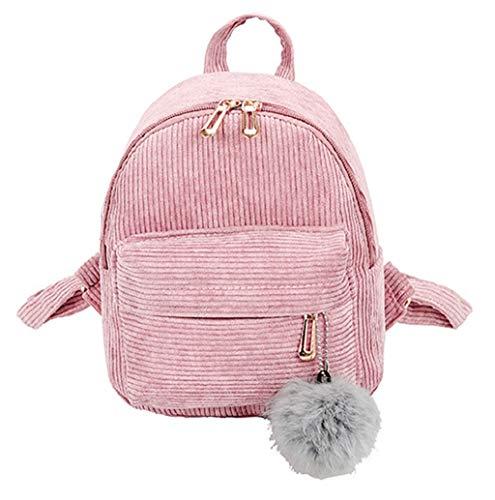 Fendi Canvas Brieftasche (Cord Rucksack, Retro Casual Schulrucksack für Mädchen im Teenageralter, Solider Rucksack, leicht, wasserabweisend, mit Hairball für Mädchen Frauen Braun Rosa Grau TWBB)