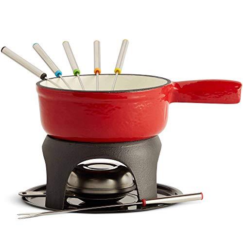 VonShef Service à Fondue - Caquelon en fonte - Brûleur - 6 fourchettes à fondue