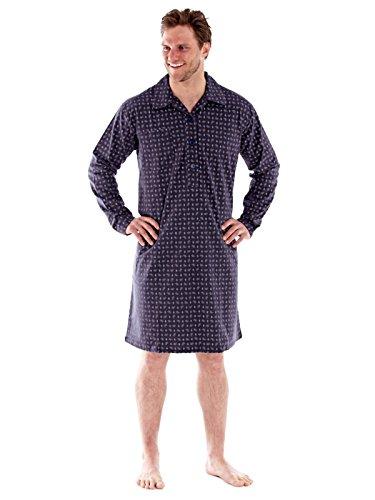 Herren 100 % gebürstete Baumwolle PAISLEY Flanell Pyjama Nachthemd Kleider M - XXL Grau Nachthemd