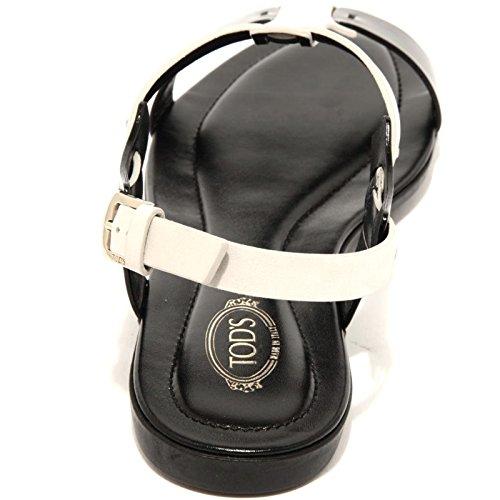 96628 sandalo TOD'S SAND GOMMA LEGG OV SELLERIA scarpa donna shoes women nero/ghiaccio